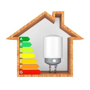Modern Automatic Water Heater with Energy Efficiency Rating Chart in Abstract Wooden Ecological House on a white background. 3d Rendering